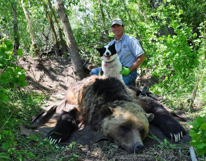 Mike Madel with grizzly